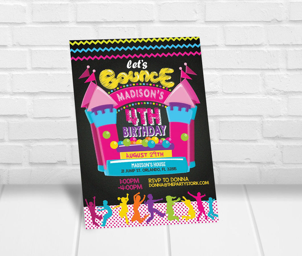 Bounce House Birthday Party Invitation Girl