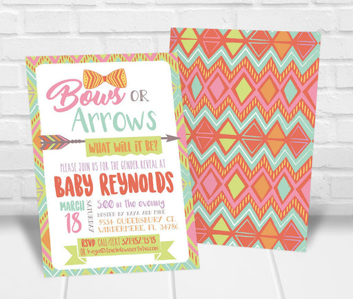Bows or Arrows Gender Reveal Party Invitation - The Party Stork