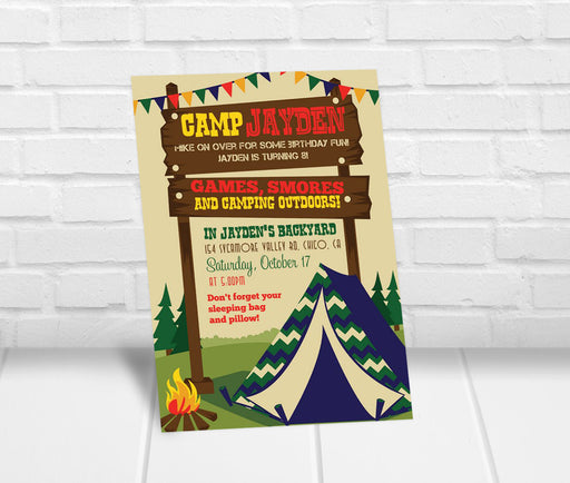 Boys Camping Party Invitation - The Party Stork