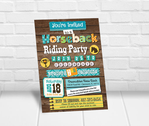 Boys Horseback Riding Birthday Party Invitation - The Party Stork