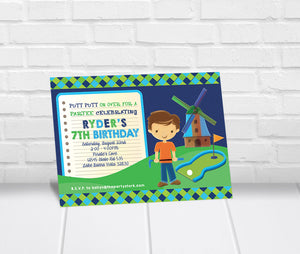 Boys Mini Golf Birthday Party Invitation
