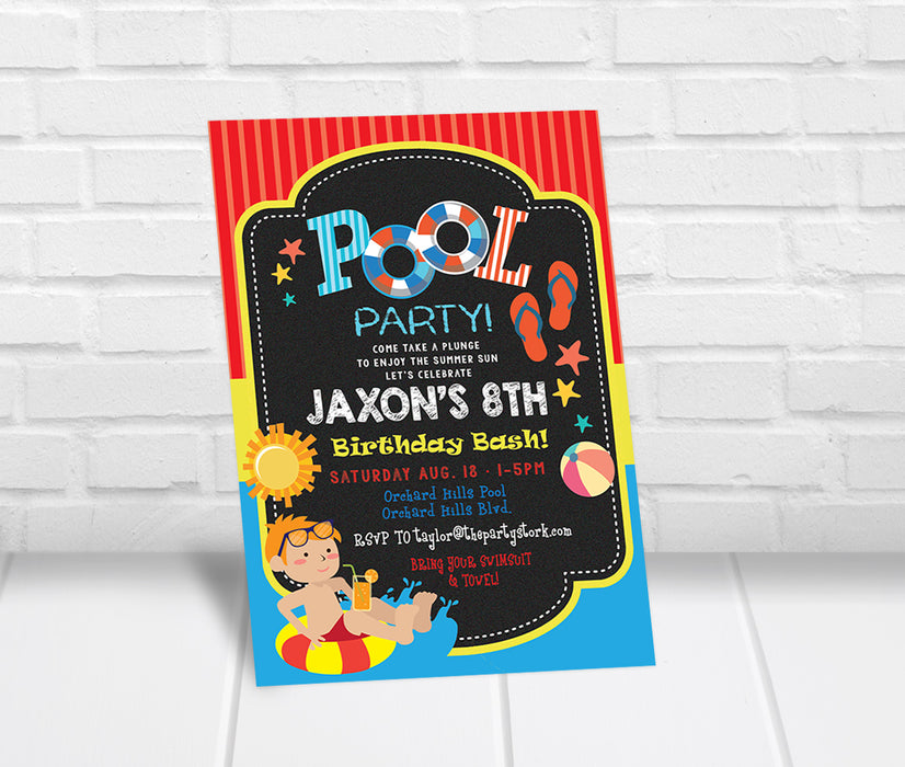 Boys Pool Party Invitation