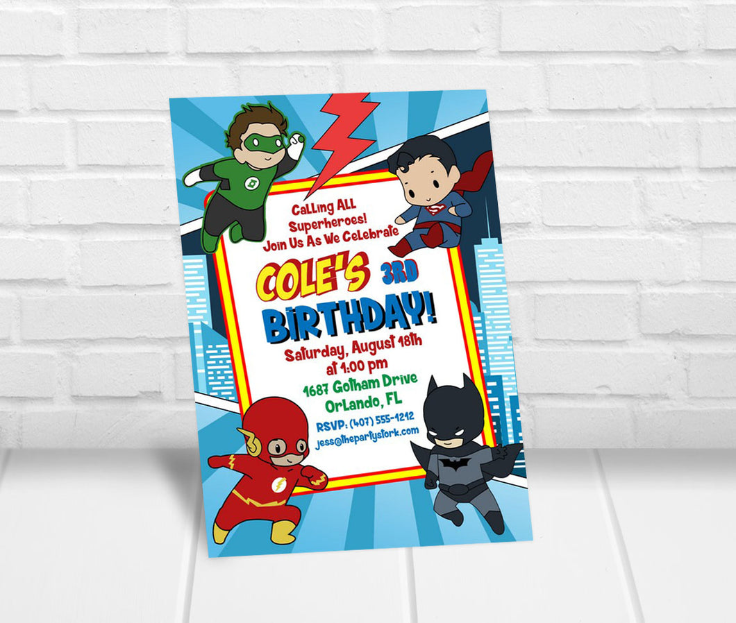 Boys Superhero Birthday Party Invitation