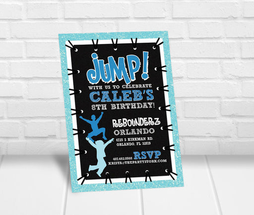 Boys Trampoline Jump Party Invitation - The Party Stork