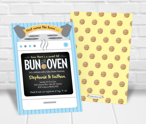 Bun in the Oven Baby Shower Invitation Boy - The Party Stork