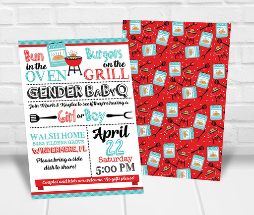 Buns and Burgers BBQ Gender Reveal Party Invitation - The Party Stork