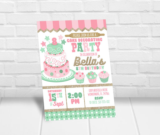 Cake Decorating Birthday Party Invitation - The Party Stork
