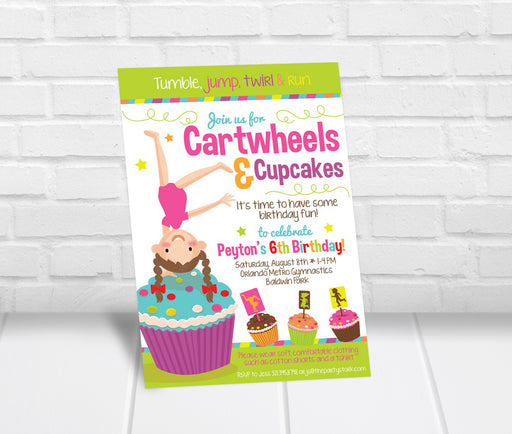 Cartwheels and Cupcakes Party Invitation - The Party Stork