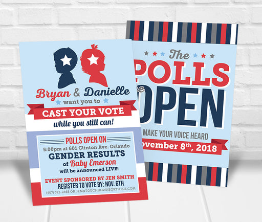 Cast Your Vote Gender Reveal Party Invitation