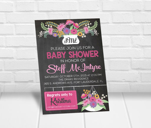 Chalkboard Floral Monogram Baby Shower Invitation - The Party Stork