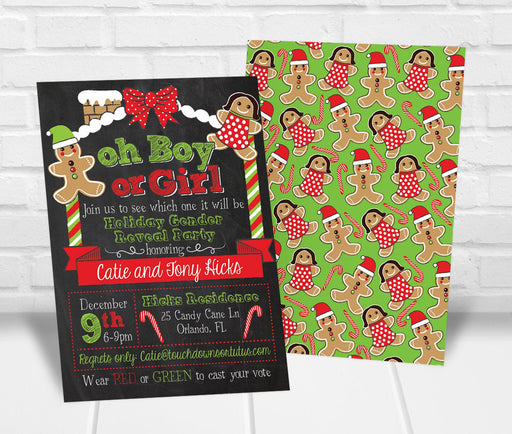 Christmas Gender Reveal Party Invitation - The Party Stork