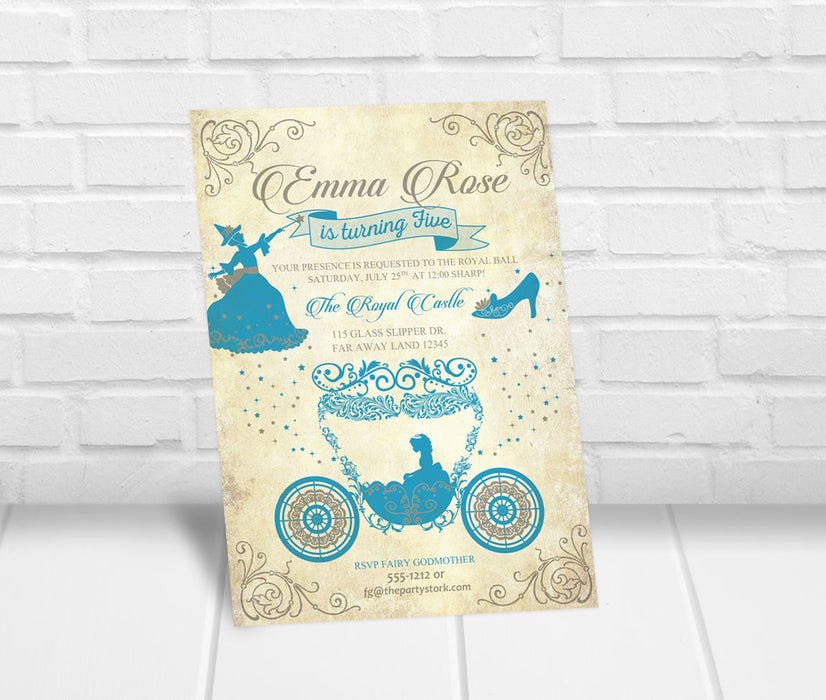 Cinderella Inspired Birthday Party Invitation - The Party Stork