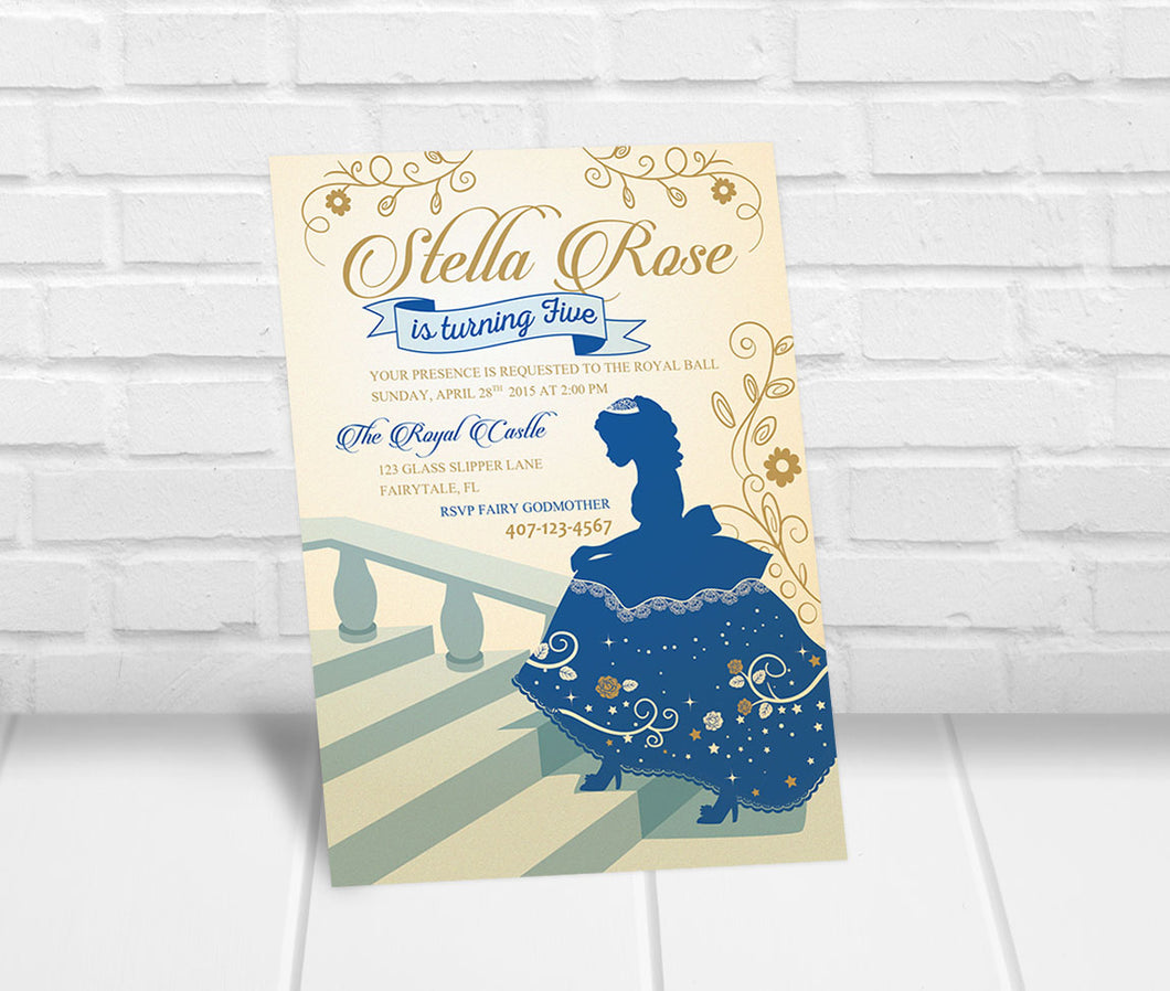 Cinderella Princess Inspired Birthday Party Invitation