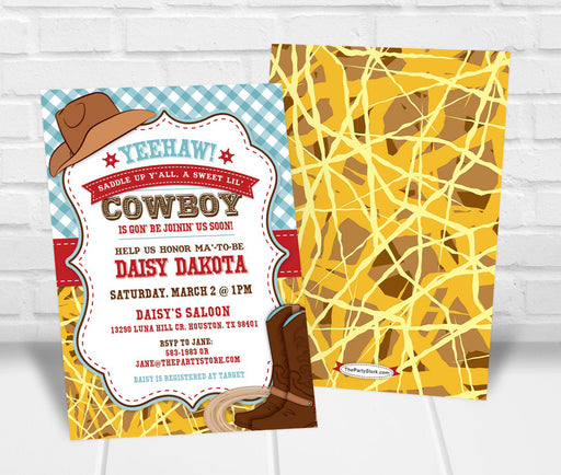 Cowboy Baby Shower Invitation - The Party Stork