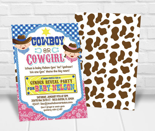 Cowboy or Cowgirl Gender Reveal Invitation - The Party Stork