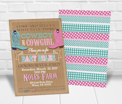 Cowboy or Cowgirl Gender Reveal Party Invitation - The Party Stork