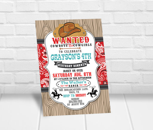 Cowboys and Cowgirls Birthday Party Invitation - The Party Stork