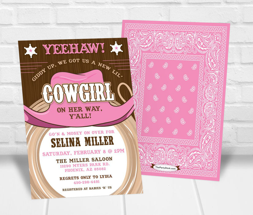 Cowgirl Baby Shower Invitation - The Party Stork