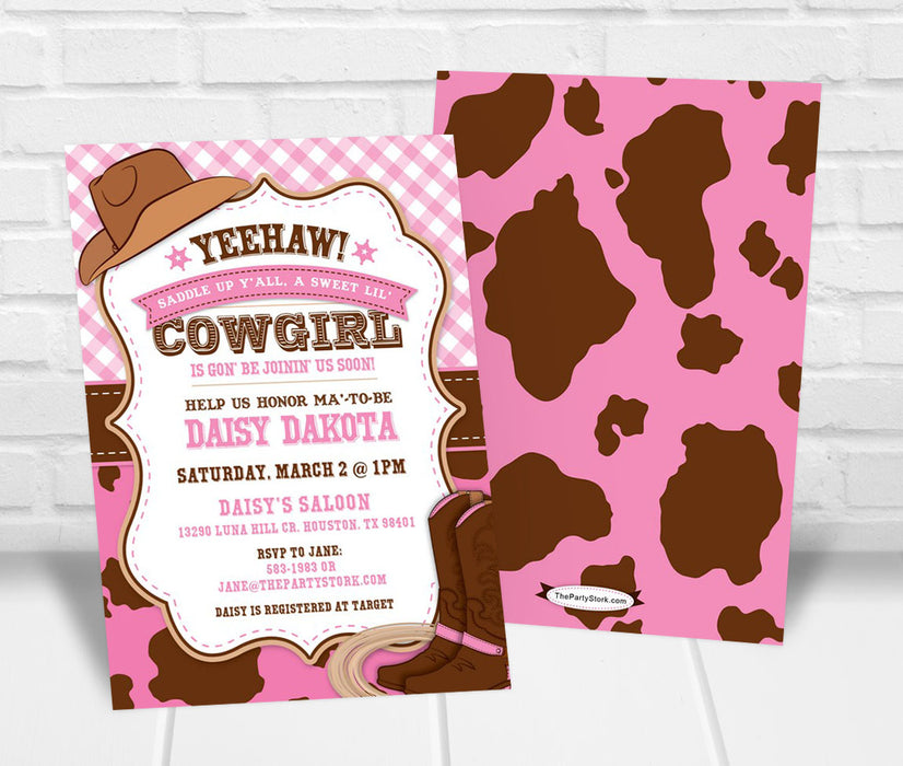 Cowgirl Baby Shower Invite - The Party Stork