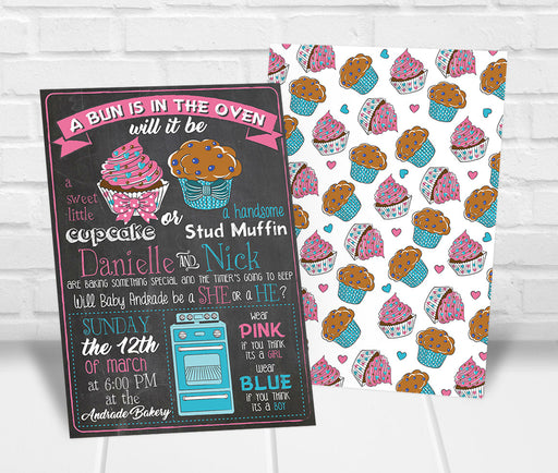 Cupcake or Studmuffin Gender Reveal Party Invitation - The Party Stork