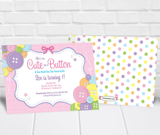 Cute as a Button Birthday Party Invitation Girls