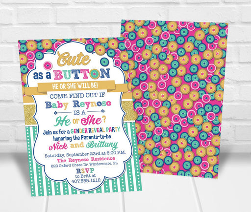 Cute as a Button Gender Reveal Party Invitation - The Party Stork