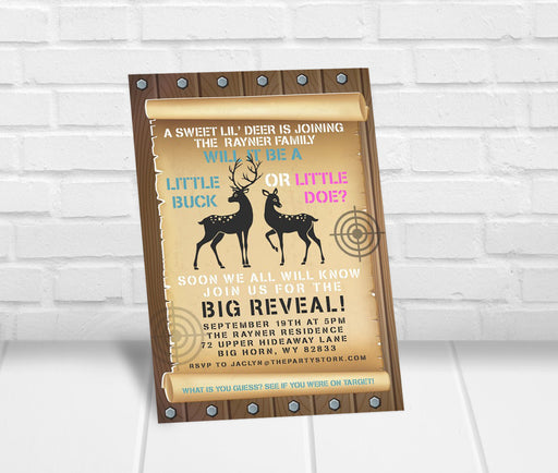 Deer Gender Reveal Invitation - The Party Stork