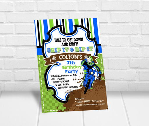 Dirt Bike Birthday Party Invitation - The Party Stork
