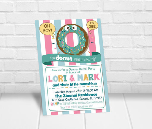Donut Gender Reveal Party Invitation - The Party Stork