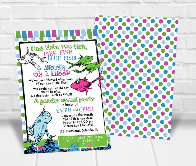 Dr. Seuss Inspired Gender Reveal Party Invitation - The Party Stork