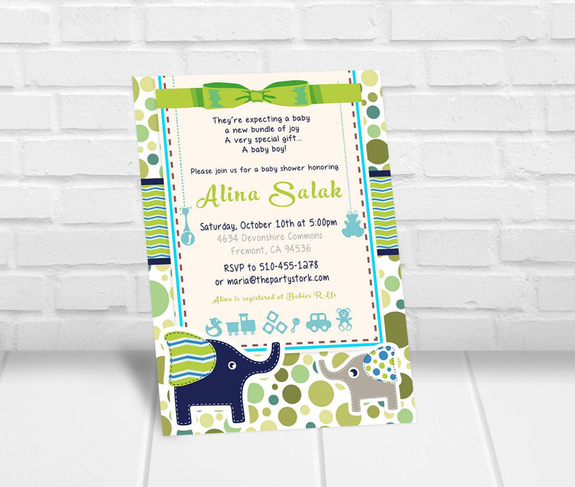 Elephant Baby Shower Invitation - The Party Stork