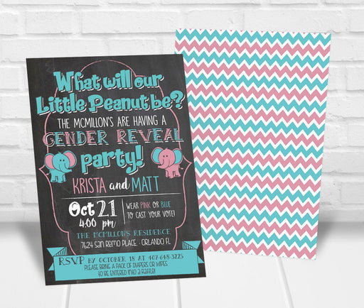 Elephant Gender Reveal Party Invitation - The Party Stork