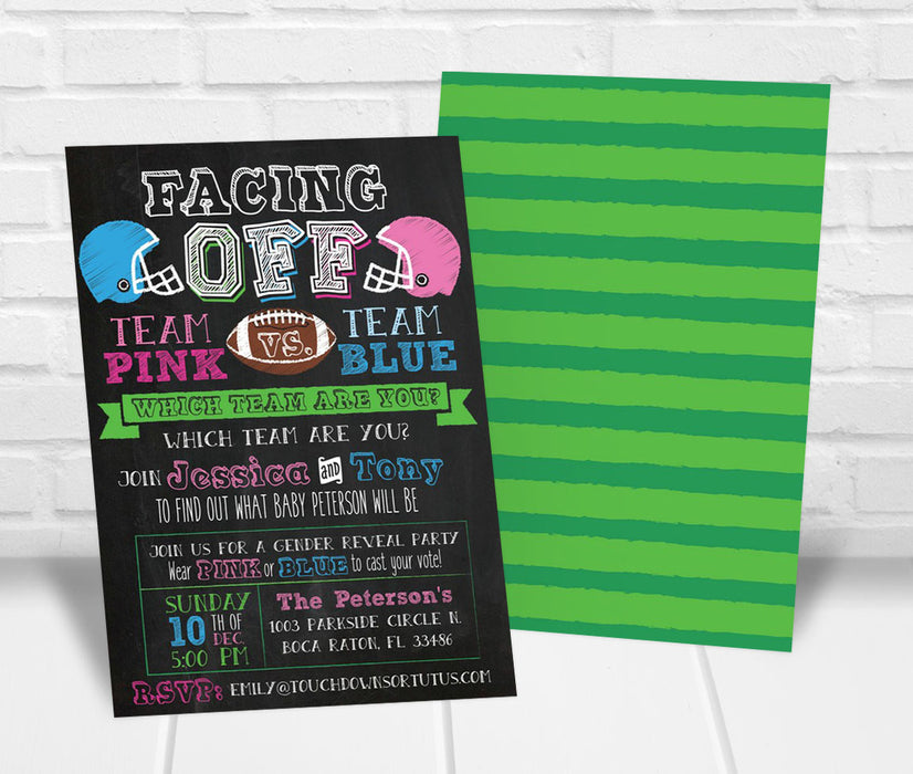 Facing Off Football Gender Reveal Party Invitation - The Party Stork