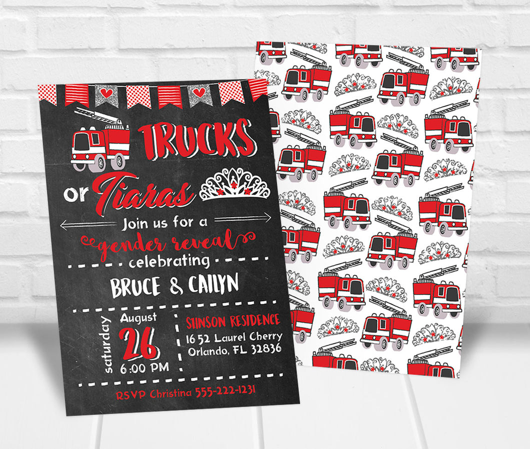 Trucks or Tiaras Gender Reveal Party Invitation