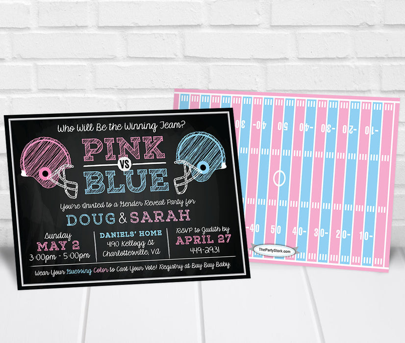 Football Gender Reveal Invitation - The Party Stork