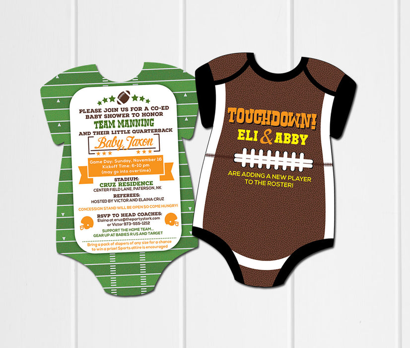 Football Onesie Baby Shower Invitation - The Party Stork