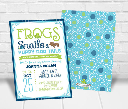 Frogs Snails and Puppy Dog Tails Baby Shower Invitation - The Party Stork