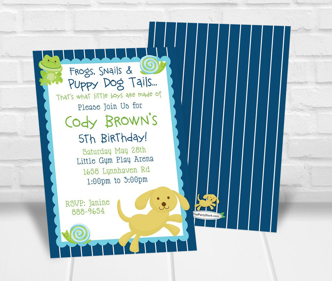 Frogs Snails and Puppy Dog Tails Party Invitation