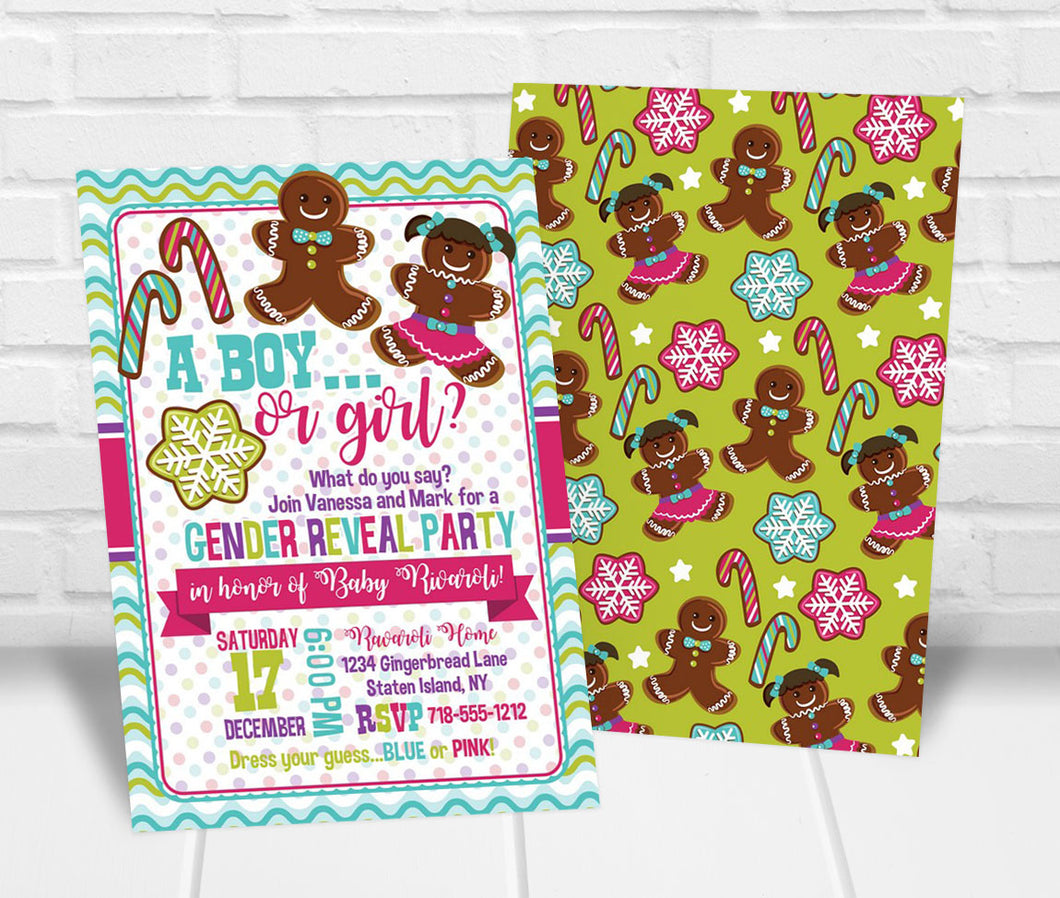 Gingerbread Gender Reveal Party Invitation