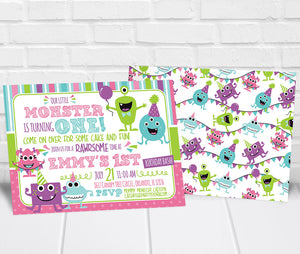 Girl Monster Birthday Party Invitation