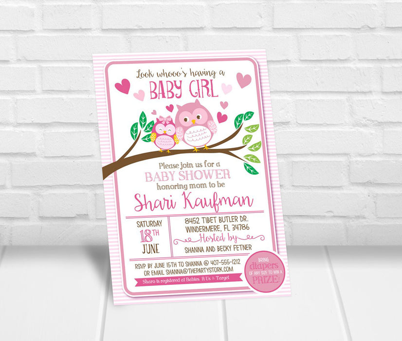 Girl Owl Baby Shower Invitation - The Party Stork