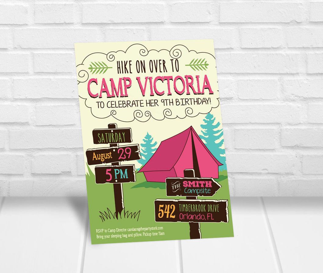 Girls Camping Party Invitation