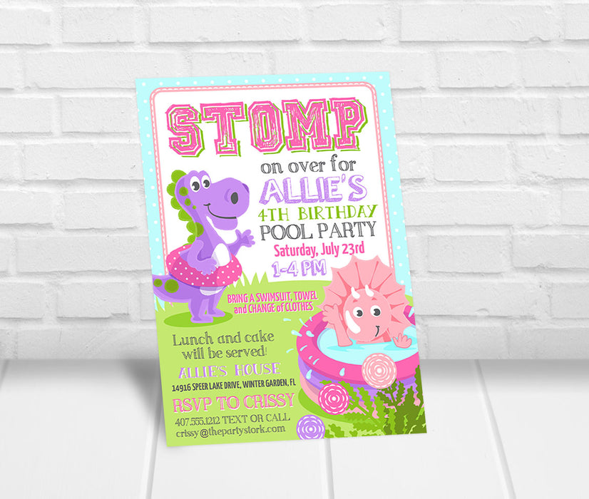 Girls Dinosaur Pool Party Invitation - The Party Stork