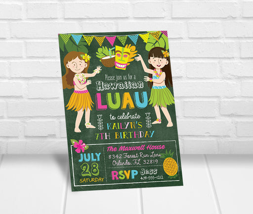 Girls Luau Party Invitation - The Party Stork