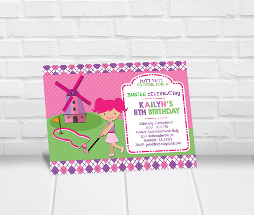 Girls Mini Golf Birthday Party Invitation - The Party Stork