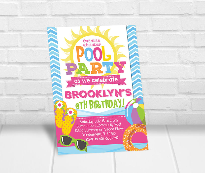 Girls Pool Party Invite - The Party Stork