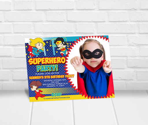 Girls Superhero Birthday Party Invitation - The Party Stork