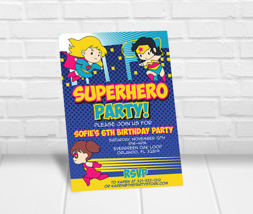 Superhero Party Invitation Girls - The Party Stork
