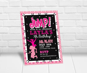 Girls Trampoline Jump Party Invitation