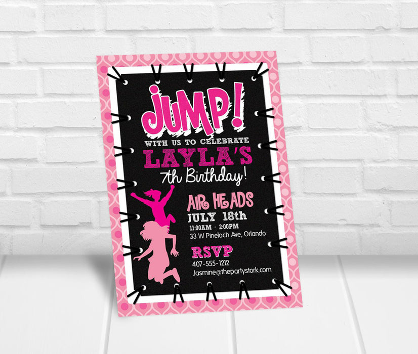Girls Trampoline Jump Party Invitation - The Party Stork